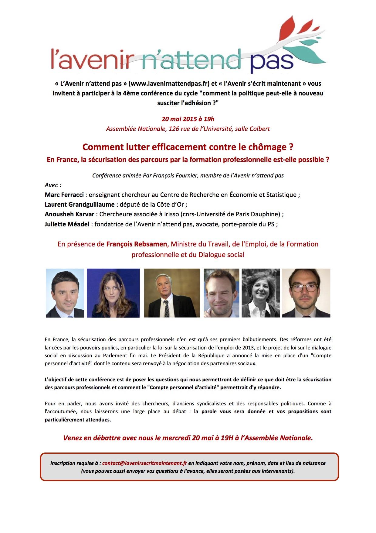 """Invitation L'avenir n'attend pas du 20 mai 2015 : 4ème conférence du cycle """"comment la politique peut-elle à nouveau susciter l'adhésion ?"""""""